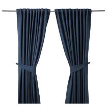 Гардины с прихватом, 1 пара БЛЕКВИВА синий артикуль № 302.619.01 в наличии. Онлайн каталог IKEA Беларусь. Быстрая доставка и монтаж.