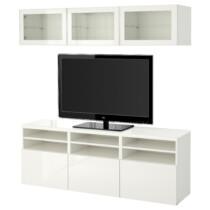 Шкаф для ТВ, комбинированный, стекляные дверцы БЕСТО белый артикуль № 591.965.14 в наличии. Интернет сайт IKEA Минск. Недорогая доставка и соборка.