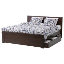 Каркас кровати с 4 ящиками БРУСАЛИ коричневый артикуль № 092.107.82 в наличии. Интернет магазин IKEA Минск. Недорогая доставка и монтаж.