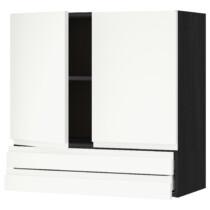 Навесной шкаф, 2 дверцы, 2 ящика МЕТОД / МАКСИМЕРА черный артикуль № 992.381.83 в наличии. Интернет магазин IKEA РБ. Быстрая доставка и установка.