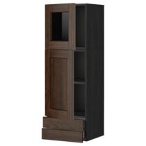 Навесной шкаф, дверцы, стеклянные дверцы, 2 ящика МЕТОД / МАКСИМЕРА черный артикуль № 292.355.88 в наличии. Интернет магазин IKEA Беларусь. Быстрая доставка и монтаж.
